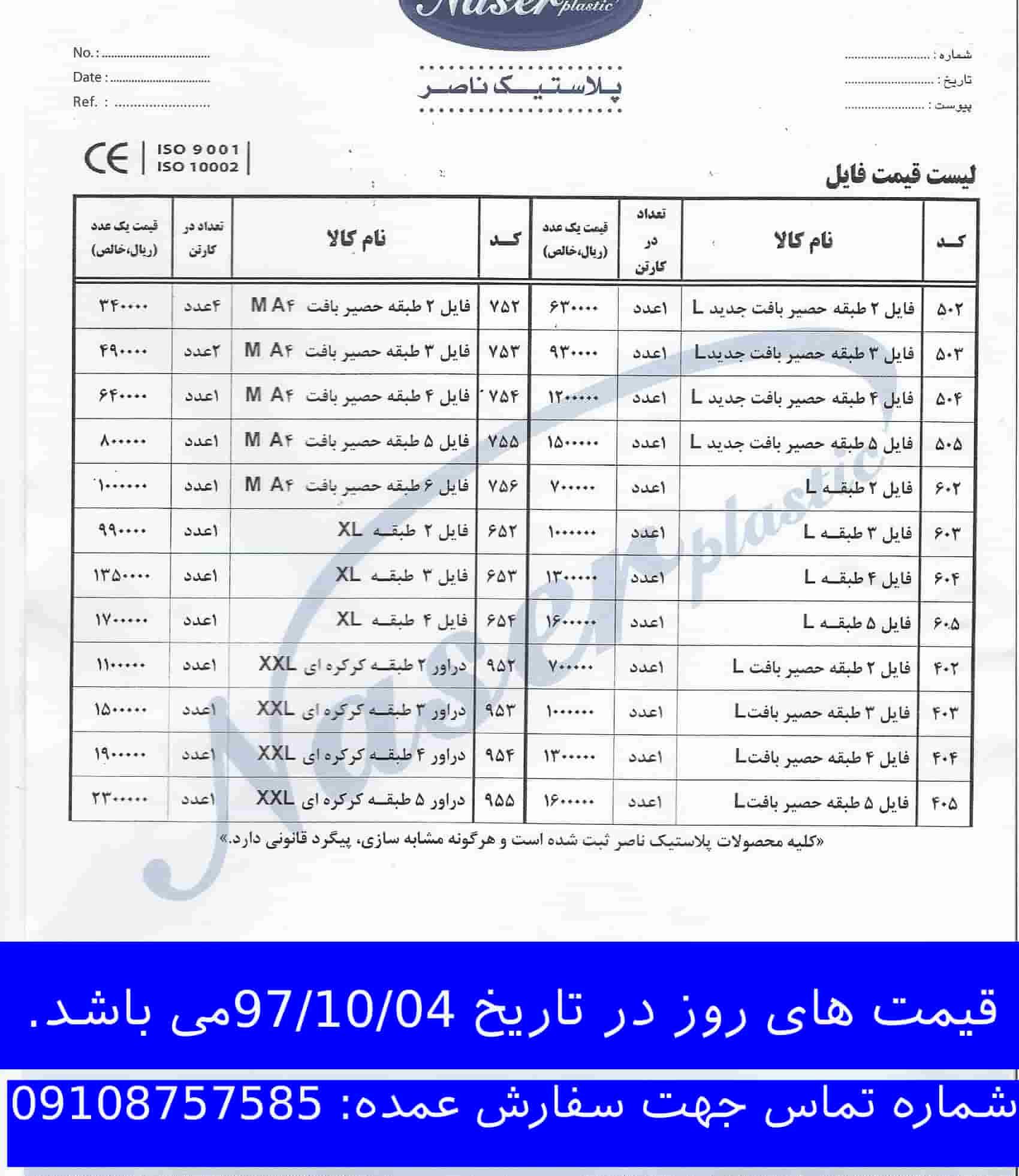 قیمت محصولات پلاستیکی ناصر