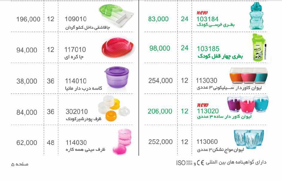 لیست قیمت محصولات پلاستیکی مانیا